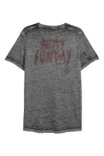 Burnout-patterned T-shirt - Dark grey marl - Men | H&M CN 3