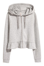 Flounce-hemmed hooded jacket - Light grey marl - Ladies | H&M CN 2