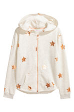 Printed hooded jacket - Light grey marl -  | H&M 2