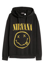 Printed hooded top - Black/Nirvana - Men | H&M 2