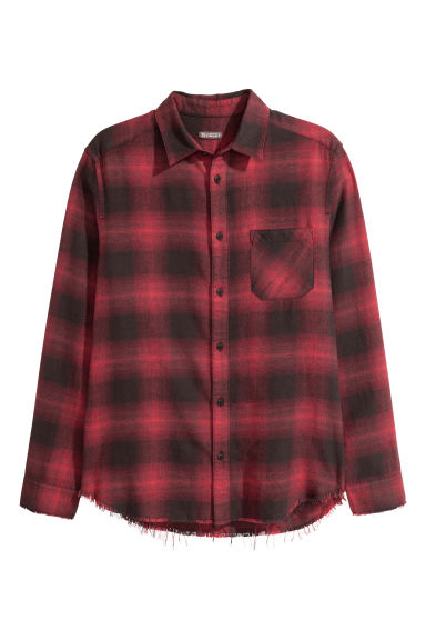 Checked flannel shirt - Red/Black checked -  | H&M