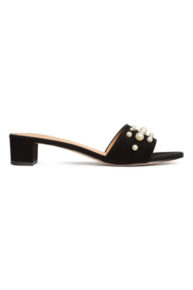 Suede slides - Black - Ladies | H&M 1