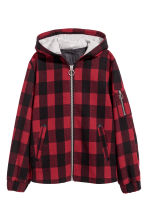 Felted jacket with a hood - Black/Red checked - Ladies | H&M 2