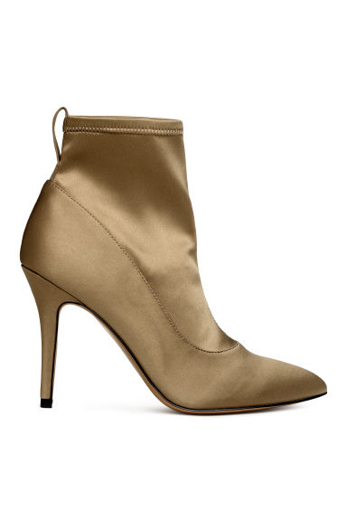 Satin ankle boots - Khaki - Ladies | H&M