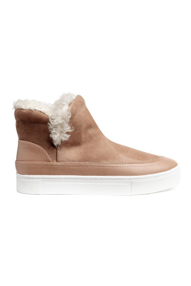 Lined hi-tops - Camel - Ladies | H&M 1