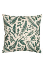 Slub weave cushion cover - Light beige/Leaf - Home All | H&M CN 2