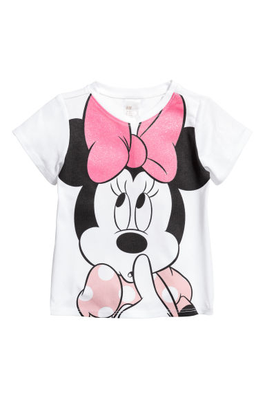 平紋圖案上衣 - White/Minnie Mouse - Kids | H&M 1