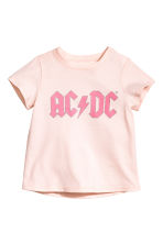 Printed jersey top - Powder pink AC/DC - Kids | H&M 1