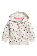Patterned hooded jacket - Light grey -  | H&M 1