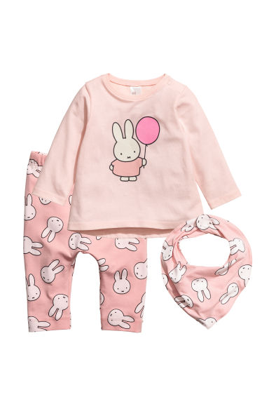 3-piece jersey set - Pink/Miffy - Kids | H&M 1