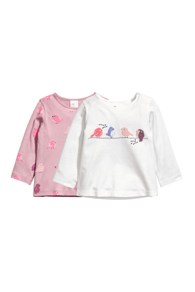 2-pack long-sleeved tops - White/Birds -  | H&M