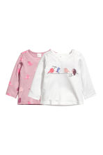 2-pack long-sleeved tops - White/Birds - Kids | H&M CN 1
