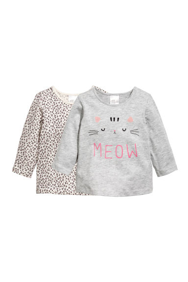 Lot de 2 tops - Gris/chat -  | H&M FR 1