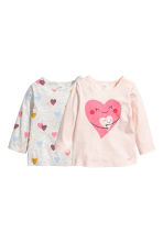 2-pack long-sleeved tops - Pink/Hearts -  | H&M 1