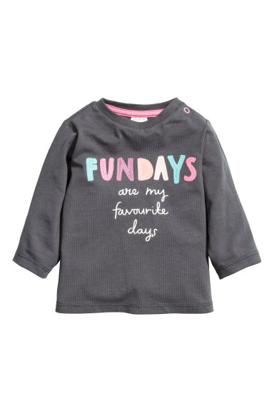 Long-sleeved jersey top - Dark grey - Kids | H&M 1