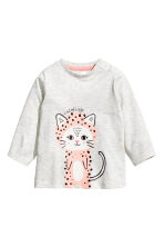 Long-sleeved jersey top - Light grey - Kids | H&M CA 1