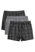 3-pack woven boxers - Black/Checked - Men | H&M CN 2