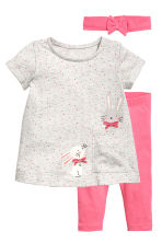 3-piece jersey set - Grey/Pink - Kids | H&M 1