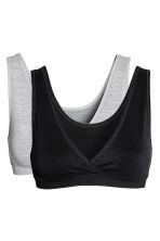 MAMA 2-pack sleep nursing bras - Grey marl/Black - Ladies | H&M CN 2