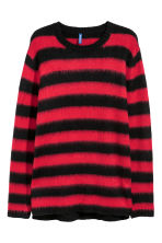 Knitted jumper - Red/Black striped - Men | H&M 2