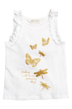 Sleeveless jersey top - White/Butterflies -  | H&M CN 2