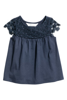 Jersey top with a lace yoke