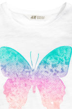 Jersey top with sequins - White/Butterfly - Kids | H&M CN 3