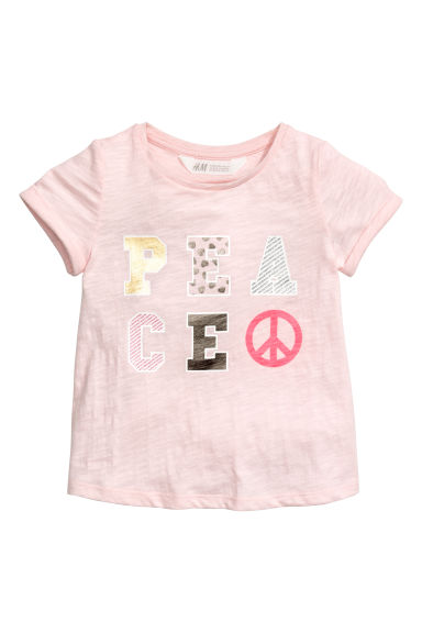 Jersey top with sequins - Antique rose - Kids | H&M CA 1