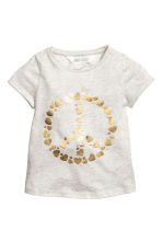 Jersey top with sequins - Light grey marl - Kids | H&M CN 1