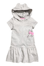Jersey dress with a hood - Grey marl - Kids | H&M 2