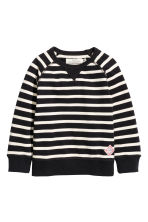 Cotton piqué top - Black/White/Striped - Kids | H&M CA 2