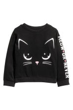 Printed sweatshirt - Black/Cat - Kids | H&M CN 2