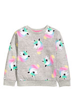 Printed sweatshirt - Grey/Unicorn - Kids | H&M CN 2