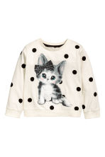 Printed sweatshirt - Natural white/Cat - Kids | H&M 2