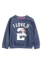 Printed sweatshirt - Dark blue/Roses -  | H&M 2