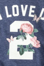 Printed sweatshirt - Dark blue/Roses -  | H&M 3
