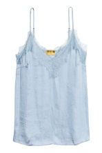 Strappy satin top with lace - Light blue - Ladies | H&M 2