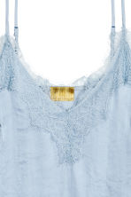 Strappy satin top with lace - Light blue - Ladies | H&M 3