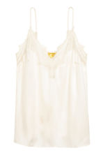 Strappy satin top with lace - Natural white - Ladies | H&M 2