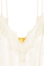 Strappy satin top with lace - Natural white - Ladies | H&M 3