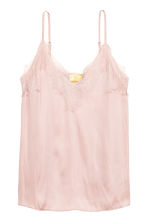 Strappy satin top with lace - Powder pink - Ladies | H&M CN 2