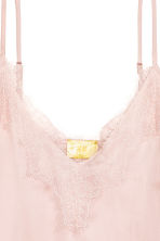 Strappy satin top with lace - Powder pink - Ladies | H&M CN 3