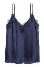 Strappy satin top with lace - Dark blue - Ladies | H&M 2