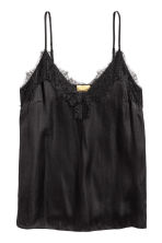 Strappy satin top with lace - Black - Ladies | H&M CN 2