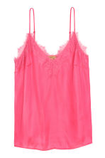 Strappy satin top with lace - Pink - Ladies | H&M IE 2