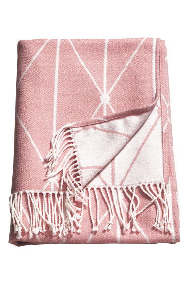 Jacquard-weave blanket - Light pink - Home All | H&M CN