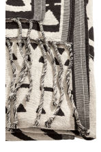 Jacquard-weave blanket - Natural white/Black - Home All | H&M CN 2