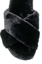 Faux fur slippers - Black - Ladies | H&M IE 3