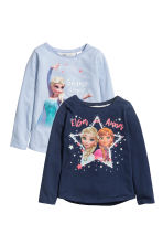 2-pack long-sleeved tops - Light blue/Frozen -  | H&M 1