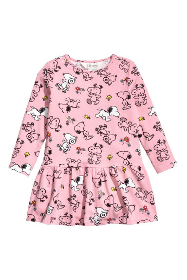 Printed jersey dress - Vintage pink/Snoopy -  | H&M